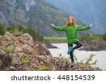 morning exercises in mountains... | Shutterstock . vector #448154539
