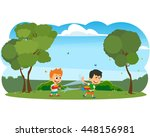happy boys playing with water... | Shutterstock .eps vector #448156981