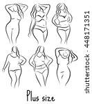 Set Girl Silhouette Sketch Plu...