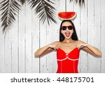 flash style portrait of sexy... | Shutterstock . vector #448175701