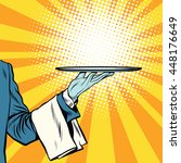 waiter hand tray presentation... | Shutterstock .eps vector #448176649