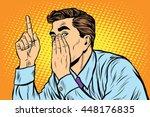 business man big secret gossip... | Shutterstock .eps vector #448176835
