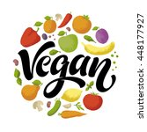 go vegan vector lettering with... | Shutterstock .eps vector #448177927