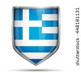 shield with flag greece.... | Shutterstock .eps vector #448181131