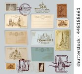 vintage travel postcards and... | Shutterstock .eps vector #448188661
