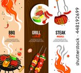barbecue party 3 flat vertical... | Shutterstock .eps vector #448192699