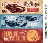 three horizontal retro car... | Shutterstock .eps vector #448199179