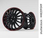 aluminum black wheel image 3d... | Shutterstock . vector #448209349