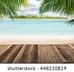 empty wooden planks with blur... | Shutterstock . vector #448210819
