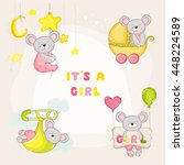 set of cute mouse  for baby... | Shutterstock .eps vector #448224589