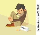 Homeless Hungry Beggar Begs For ...