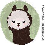 cute cartoon alpaca head | Shutterstock .eps vector #448229911