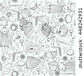 vector pattern with cute girl... | Shutterstock .eps vector #448242931