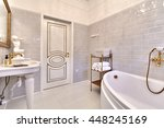 bathroom with a beautiful... | Shutterstock . vector #448245169
