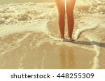 beautiful bare feet on the... | Shutterstock . vector #448255309