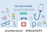 doctor at home concept banner.... | Shutterstock .eps vector #448265695