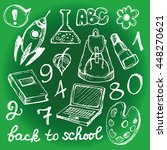 back to school big doodles set. ... | Shutterstock .eps vector #448270621