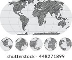 world map and globe detail... | Shutterstock .eps vector #448271899