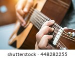 acoustic guitar playing. men... | Shutterstock . vector #448282255