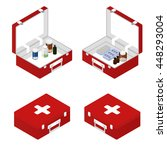 first aid kit isometric. vector ... | Shutterstock .eps vector #448293004