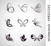 butterfly logo icon vector set | Shutterstock .eps vector #448311241