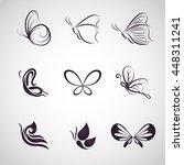 butterfly logo icon vector set | Shutterstock .eps vector #448311241
