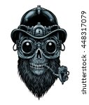steampunk skull  in hat and... | Shutterstock . vector #448317079