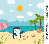dancing penguin on the beach.... | Shutterstock .eps vector #448329931