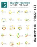 geometric leaf icon set. thin... | Shutterstock . vector #448334635