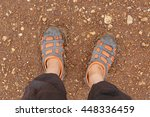 selfie of feet in rubber shoes... | Shutterstock . vector #448336459