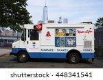 white mister softee ice cream...   Shutterstock . vector #448341541