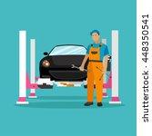 car repair shop concept vector... | Shutterstock .eps vector #448350541