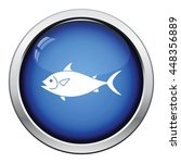 fish icon. glossy button design.... | Shutterstock .eps vector #448356889