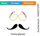 glasses and mustache icon. flat ...