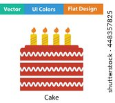 party cake icon. flat color...