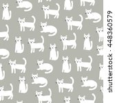seamless pattern with cute cats | Shutterstock .eps vector #448360579