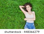 beautiful happy young woman... | Shutterstock . vector #448366279