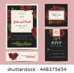 botanic invitation set with... | Shutterstock .eps vector #448375654