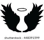 black silhouettes of angel... | Shutterstock .eps vector #448391599