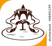 aquapark sign. brown icon on...