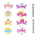 set fun quotes label. yummy ... | Shutterstock .eps vector #448404955
