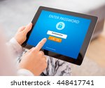 entering password on tablet | Shutterstock . vector #448417741