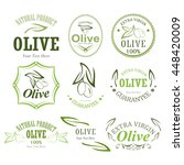 set of olive oil labels on a... | Shutterstock .eps vector #448420009