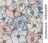 floral seamless pattern. dog... | Shutterstock .eps vector #448426609