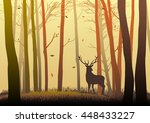 silhouette of a deer in the... | Shutterstock .eps vector #448433227