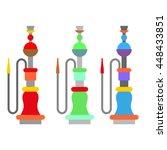 set colorful arabic hookah....   Shutterstock .eps vector #448433851