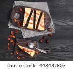 cakes cheesecake caramel nut ... | Shutterstock . vector #448435807
