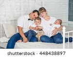 happy family with two babies | Shutterstock . vector #448438897