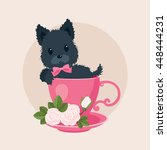 Stock vector black puppy dog in a tea coffee cup with roses vector cartoon illustration cute curious puppy dog 448444231