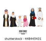 happy muslim arabic family... | Shutterstock .eps vector #448445431